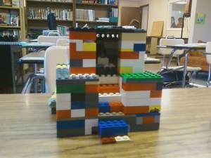 One student has brought in their extra credit project of a ziggurat